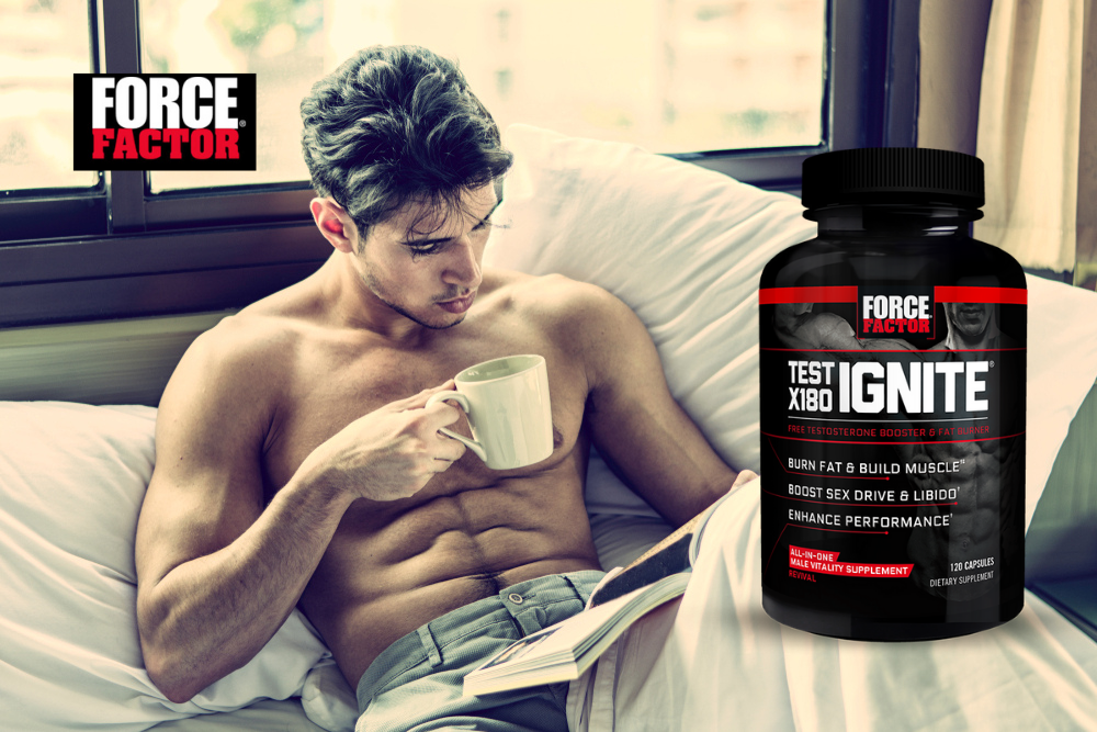 Test X180 Ignite Free Testosterone Booster to Increase Sex Drive & Libido, Burn Fat, Build Lean Muscle, & Improve Performance.